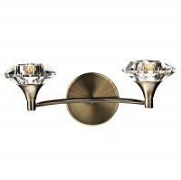 Dar Luther Double Wall Bracket with Crystal Glass Antique Brass