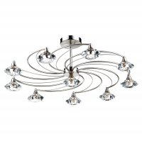 Dar Luther 10 Light semi Flush Complete with Crystal Glass Satin Chrome