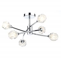 Dar Seattle 6 Light Semi Flush Ceiling Light Polished Chrome