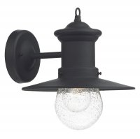 Dar Sedgewick 1 Light Lantern Black Down Facing IP44