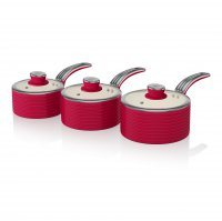 Swan Retro 3 Piece Saucepan Set Red