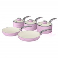 Swan Retro 5 Piece Pan Set Pink