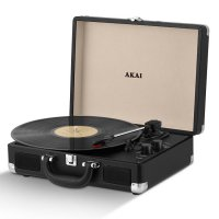 Akai Retro 60's Premium Leather Suitcase Style Record Player - Black