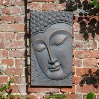 Solstice Sculptures Buddha Wall Plaque Portrait 56cm in Bronze Effect