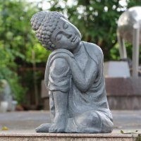 Solstice Sculptures Buddha Crouching 58cm Grey Charcoal Effect