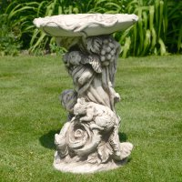 Solstice Sculptures Woodland Bird Bath 58cm Antique Stone Effect