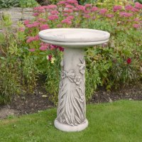 Solstice Sculptures Floral Bird Bath 60cm Antique Stone Effect