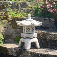 Solstice Sculptures Pagoda Low 40cm Antique Stone Effect