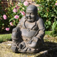 Solstice Sculptures Buddhist Monk Sitting 43cm Rust Effect