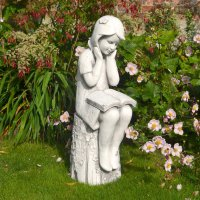 Solstice Sculptures Julie Reading Girl 86cm White Stone Effect