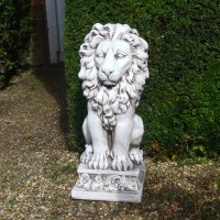 Solstice Sculptures Small Lion 61cm Antique Stone Effect
