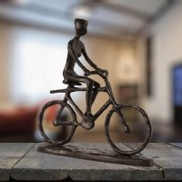 Elur Bicycle Man Iron Figurine 19cm Mocha