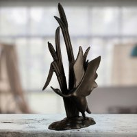 Elur Bird in Reeds Iron Ornament 47cm Mocha