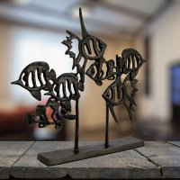 Elur Angel Fish Shoal Iron Ornament 33cm Mocha