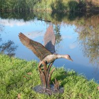 Solstice Sculptures Duck in Flight 69cm Aluminium Dark Verdigris