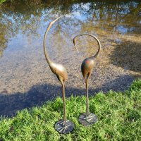 Solstice Sculptures Contemporary Cranes PAIR 95&80cm Aluminium Dark Verdigris