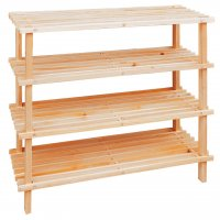 Premier 4 Tier Wood Slatted Shoe Rack