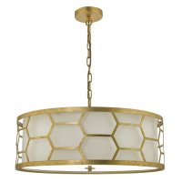 Dar Epstein 4lt Pendant Gold With Ivory Shade & Frosted Glass Diffuser