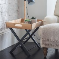 Garden Trading Butlers Side Table in Carbon - Oak