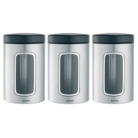 Brabantia 1.4L Window Canister Set of 3 in Fingerprint Proof  Matt Steel