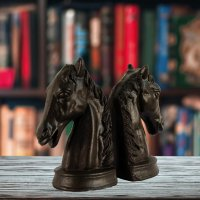 Elur Horse Head Iron Book Ends 19cm Mocha