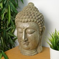 Elur Buddha Head 40cm Carved Wood Effect