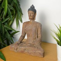 Elur Buddha Sitting 29cm Carved Wood Effect