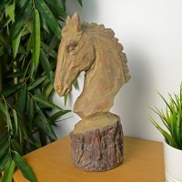 Elur Horse Head 36cm Carved Wood Effect