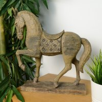 Elur Horse 39cm Carved Wood Effect