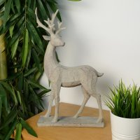 Elur Deer 46cm Carved Wood Effect