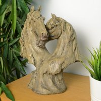 Elur Double Horse Head 35cm Carved Wood Effect