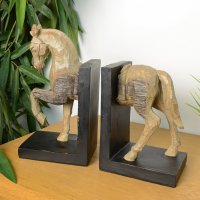 Elur Horse Bookends 24cm Carved Wood Effect