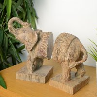 Elur Elephant Bookends 23cm Carved Wood Effect