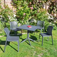 Nardi High Range Clip Dining Table with 4 Bit Chairs Anthracite