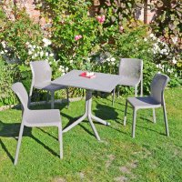 Nardi High Range Clip Dining Table with 4 Bit Chairs Turtle Dove