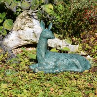 Solstice Sculptures Deer Lying Small 30cm Aluminium Gold Verdigris