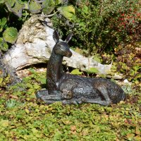 Solstice Sculptures Deer Lying Small 30cm Aluminium Dark Verdigris