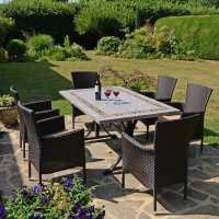 Byron Manor Burlington Dining Table with 6 Stockholm Brown Chairs