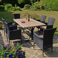 Byron Manor Hampton  Dining Table with 6 Stockholm Black Chairs