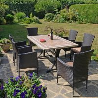 Byron Manor Hampton  Dining Table with 6 Stockholm Brown Chairs