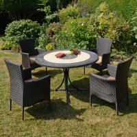 Byron Manor St Malo Dining Table with 4 Stockholm Brown Chairs