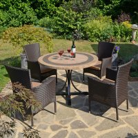 Byron Manor Vermont Dining Table with 4 Stockholm Brown Chairs