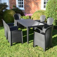Trabella Roma Rectangular Table with 6 Sicily  Chairs Set Anthracite
