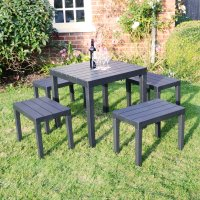 Trabella Roma Square Table with 4 Roma Bench Set Anthracite