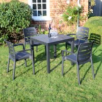 Trabella Roma Square Table with 4 Siena Chairs Set Anthracite
