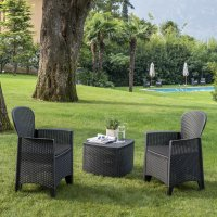Trabella Sicily  Side Table with 2 Sicily  Chairs Set Anthracite
