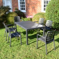 Trabella Salerno Dining Table with 6 Siena Chairs Set Anthracite