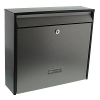 Burg Wachter Oxford 6877Black & Stainless Steel Letter Box