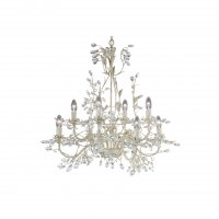 Searchlight Almandite 8 Light Cream Gold Chandelier with Crystal Detail