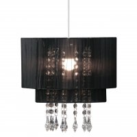 Black Voile Beaded Pendant Shade